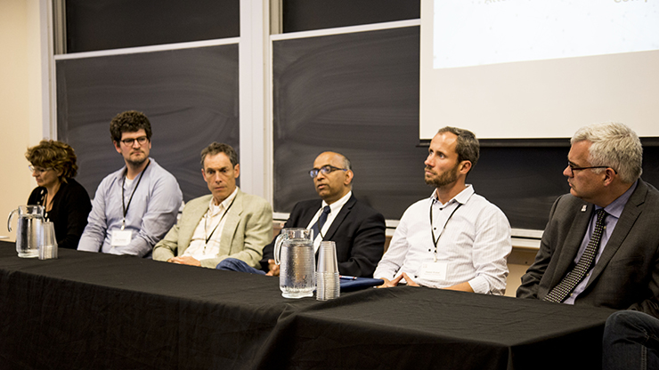 From left to right: Kim McAuley, Alec Jacobson, Thomas Hurd, Sri Namachchivaya, Pawel Pralat, and Matt Davison